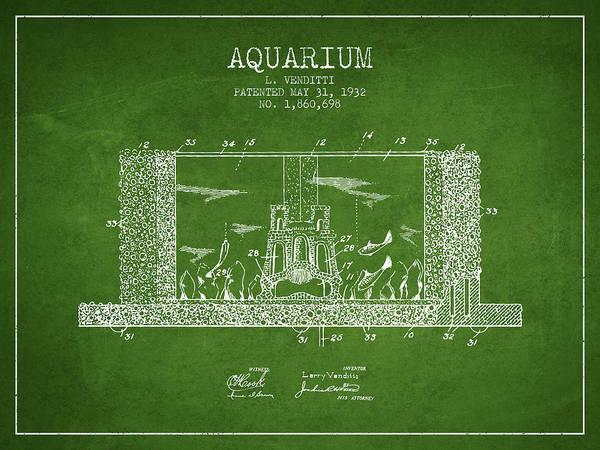 Aquarium Digital Art - 1932 Aquarium Patent - Green by Aged Pixel