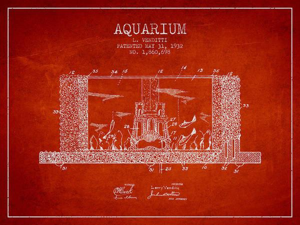 Aquarium Digital Art - 1932 Aquarium Patent - Red by Aged Pixel