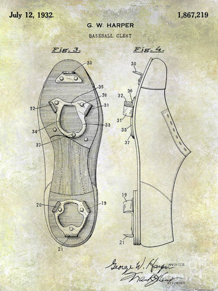 Wall Art - Photograph - 1932 Baseball Cleat Patent Blueprint by Jon Neidert
