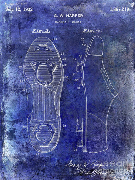Wall Art - Photograph - 1932 Baseball Cleats Patent Blue by Jon Neidert