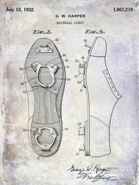Wall Art - Photograph - 1932 Baseball Cleats Patent by Jon Neidert