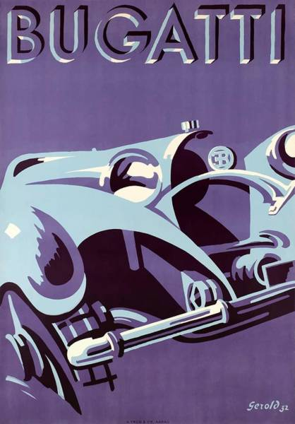 Wall Art - Digital Art - 1932 Bugatti Automobile Advertising Poster by Retro Graphics
