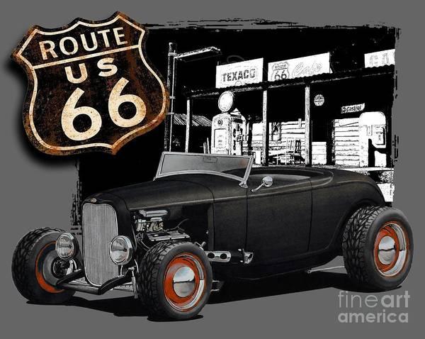 Hot Rod Digital Art - 1932 Ford On Route 66 by Paul Kuras