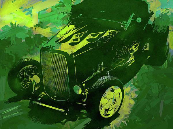 Digital Art - 1932 Ford Roadster Hot Rod Pop Green by David King