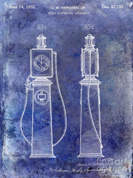 Wall Art - Photograph - 1932 Gas Pump Patent Blue by Jon Neidert