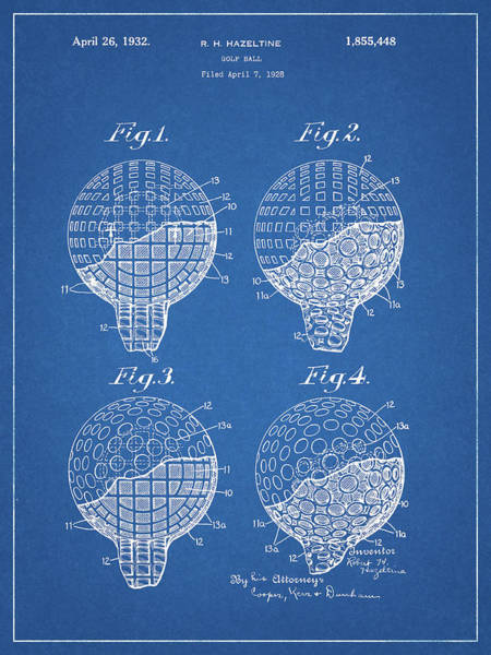 Wall Art - Drawing - 1932 Golf Ball Patent by Dan Sproul