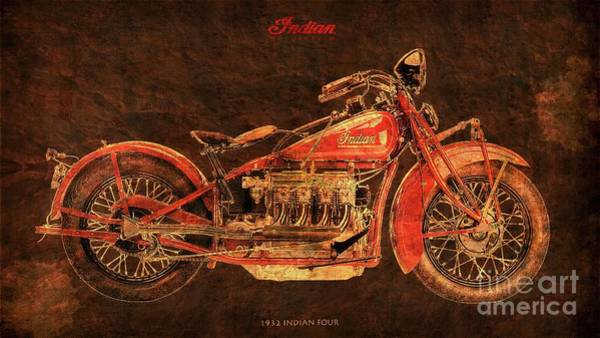 1932 Wall Art - Digital Art - 1932 Indian Four Classic Motorcycle by Drawspots Illustrations