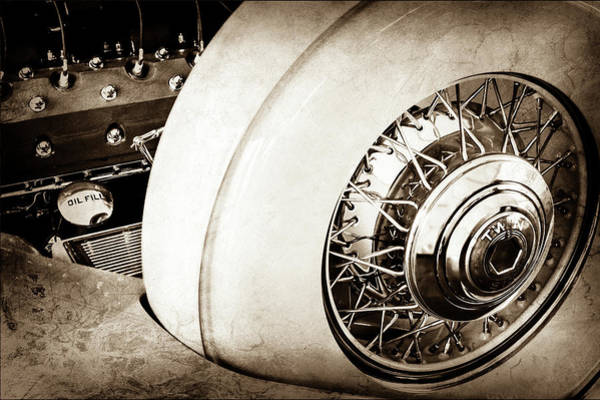 Photograph - 1932 Packard Dual Cowl Phaeton Engine - Spare Tire -0707s by Jill Reger