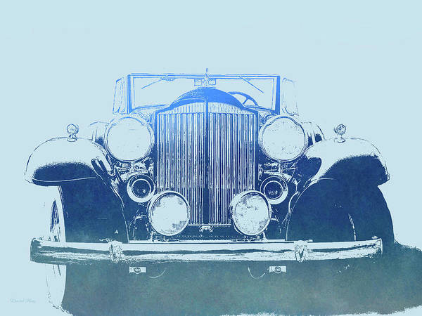 Digital Art - 1932 Packard Pop Art Blue Gradient by David King