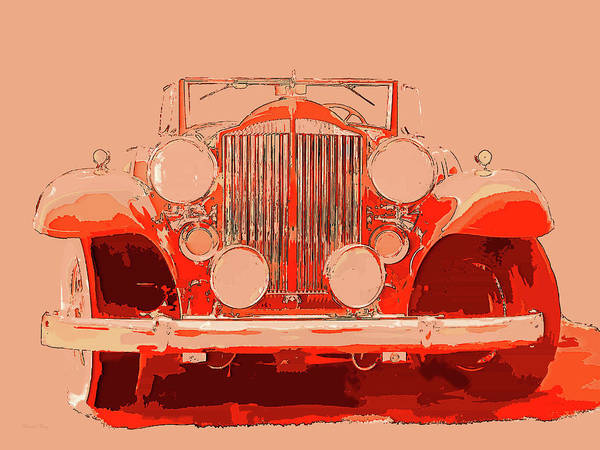 Digital Art - 1932 Packard Pop Art Red Orange by David King