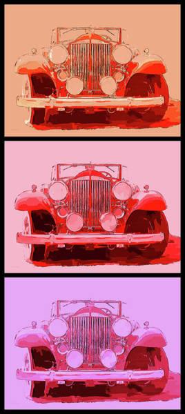 Digital Art - 1932 Packard Pop Art Red Triple by David King