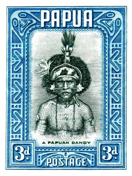Wall Art - Digital Art -  1932 Papua New Guinea Native Dandy Postage Stamp by Retro Graphics
