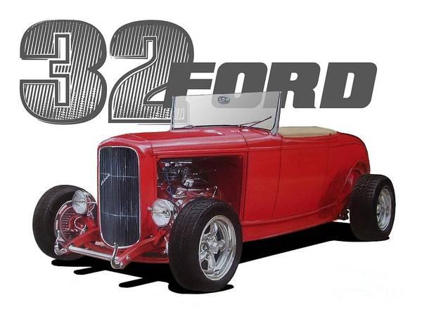 Hot Rod Digital Art - 1932 Red Ford by Paul Kuras