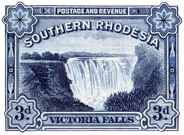 Victoria Falls Painting - 1932 Southern Rhodesia Victoria Falls Stamp by Historic Image