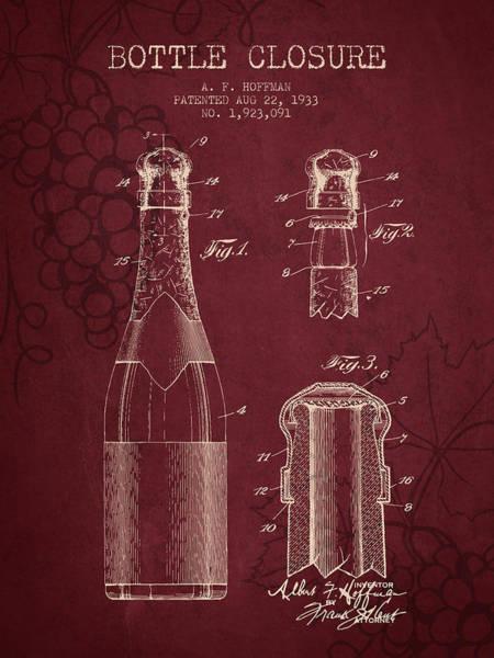 Wine Barrel Wall Art - Digital Art - 1933 Bottle Closure Patent - Red Wine by Aged Pixel