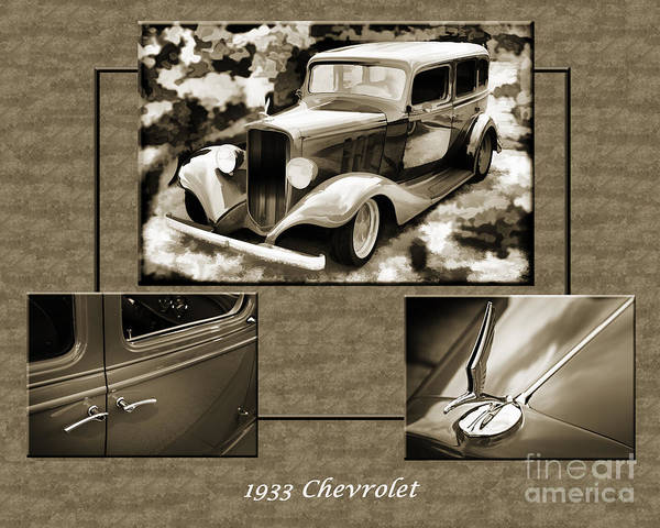 Photograph - 1933 Chevrolet Chevy Sedan Classic Car Collage In Color 3516.02 by M K Miller