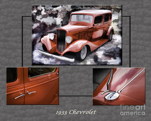 Photograph - 1933 Chevrolet Chevy Sedan Classic Car Collage In Sepia 3516.01 by M K Miller