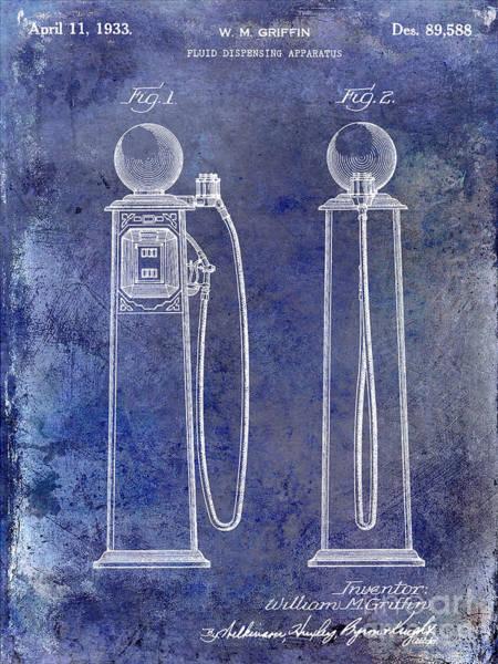 Wall Art - Photograph - 1933 Gas Pump Patent Blue by Jon Neidert