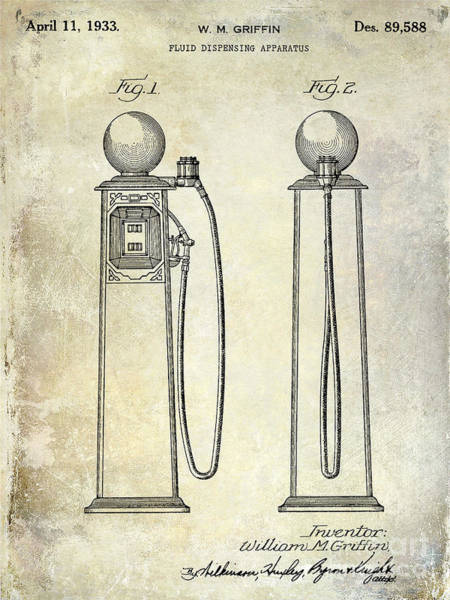 Filling Photograph - 1933 Gas Pump Patent by Jon Neidert