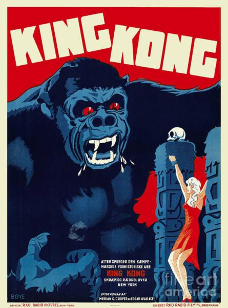 Wall Art - Photograph - 1933 King Kong Danish Movie Poster by Jon Neidert
