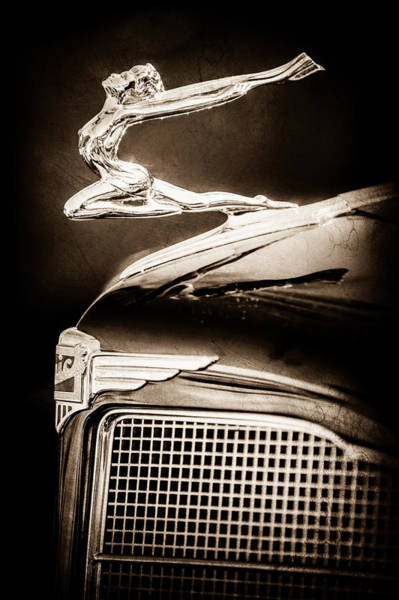 Photograph - 1934 Buick Series 96-c Convertible Coupe Hood Ornament - Emblem -0527s by Jill Reger