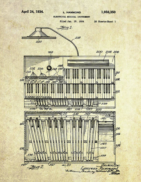 Organ Digital Art - 1934 Hammond Organ Patent Art by Gary Bodnar