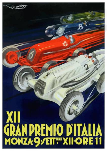 Wall Art - Digital Art - 1934 Italian Grand Prix Automobile Race Poster by Retro Graphics