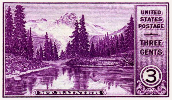 Mount Rainier Painting - 1934 Mount Rainier Stamp by Historic Image