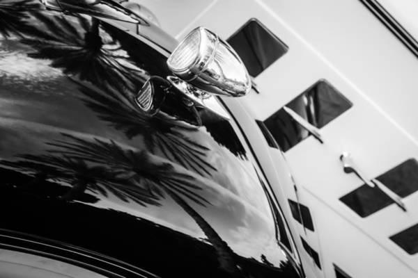 Cabriolet Photograph - 1934 Packard 1104 Cabriolet Head Light -0304bw by Jill Reger
