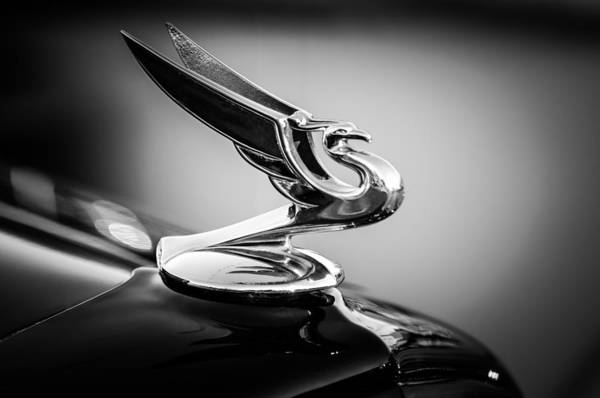 Photograph - 1935 Chevrolet Sedan Hood Ornament -0116bw by Jill Reger