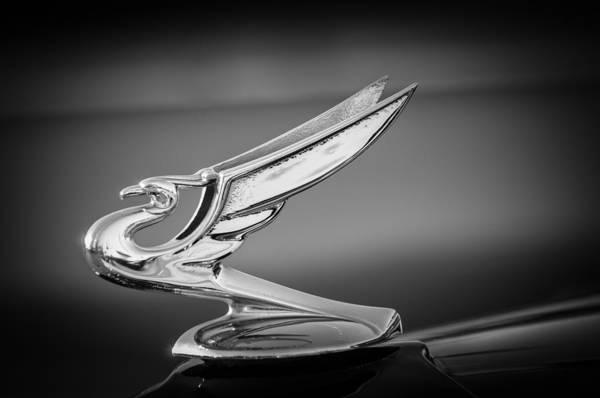 Photograph - 1935 Chevrolet Sedan Hood Ornament -0124bw by Jill Reger