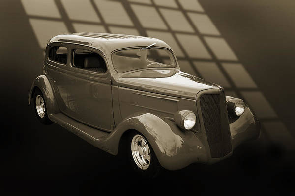 Photograph - 1935 Ford Classic Car Photograph Sepia 7150.01 by M K Miller