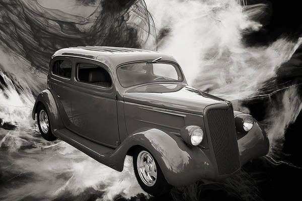Photograph - 1935 Ford Classic Car Photograph Sepia 7154.01 by M K Miller