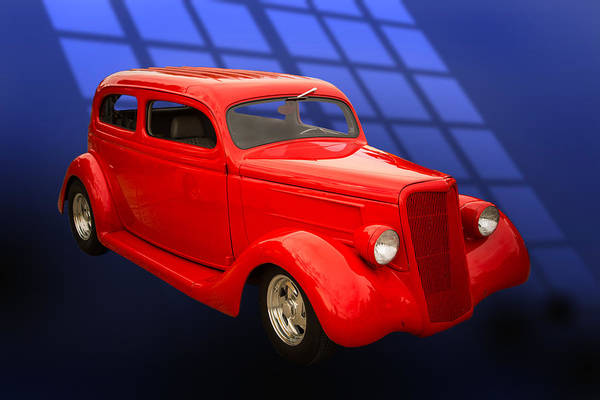 Photograph - 1935 Ford Classic Red Car Photograph 7150.02 by M K Miller