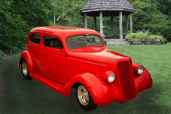Photograph - 1935 Ford Classic Red Car Photograph 7151.02 by M K Miller