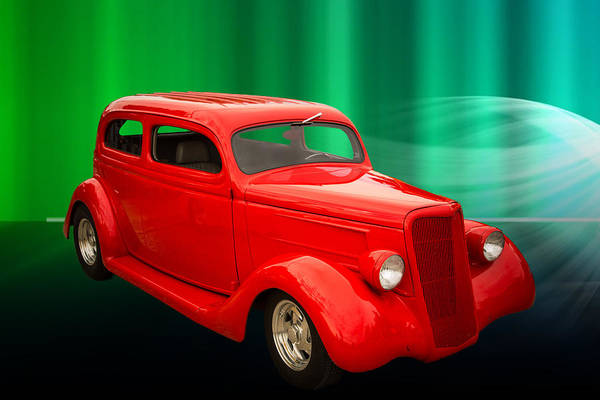 Photograph - 1935 Ford Classic Red Car Photograph 7152.02 by M K Miller