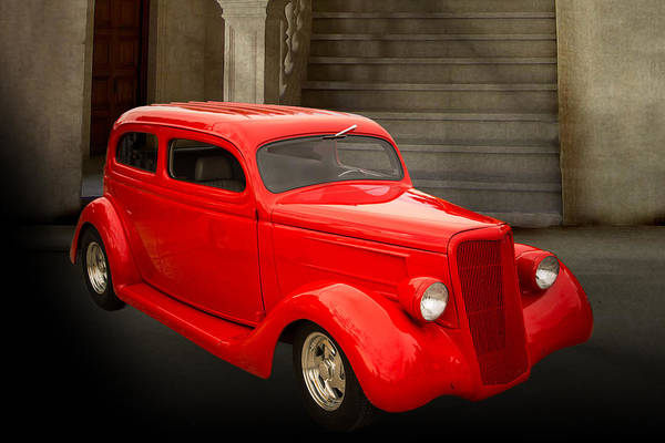 Photograph - 1935 Ford Classic Red Car Photograph 7153.02 by M K Miller