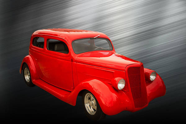 Photograph - 1935 Ford Classic Red Car Photograph 7155.02 by M K Miller
