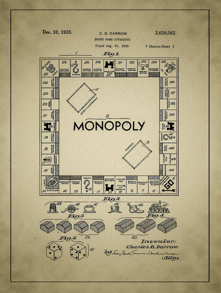 Monopoly Photograph - 1935 Monopoly Patent by Bill Cannon