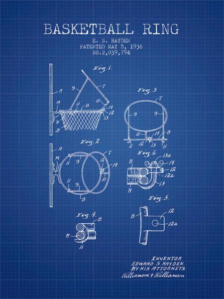 Association Digital Art - 1936 Basketball Ring Patent - Blueprint by Aged Pixel