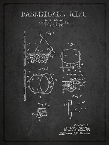Association Digital Art - 1936 Basketball Ring Patent - Charcoal by Aged Pixel