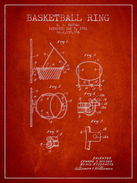 Wall Art - Digital Art - 1936 Basketball Ring Patent - Red by Aged Pixel