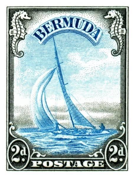 Wall Art - Digital Art - 1936 Bermuda Yacht Postage Stamp by Retro Graphics
