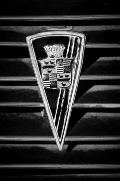 Photograph - 1936 Cadillac Fleetwood Emblem -0451bw by Jill Reger