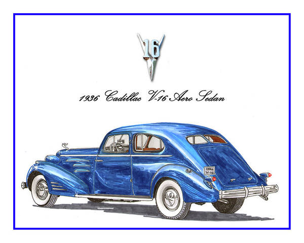 Wall Art - Painting - 1936 Cadillac V-16 Aero Coupe by Jack Pumphrey