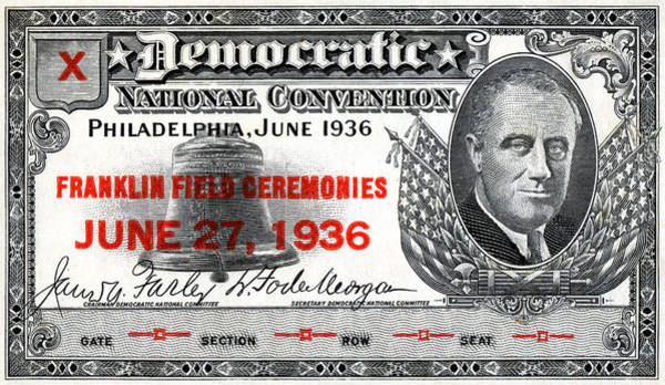 Fdr Painting - 1936 Democrat National Convention Ticket by Historic Image