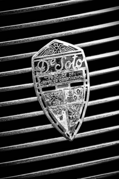 Photograph - 1936 Desoto Airstream Grille Emblem -1886bw by Jill Reger
