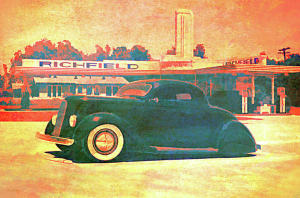 Digital Art - 1936 Ford At The Richfield by David King