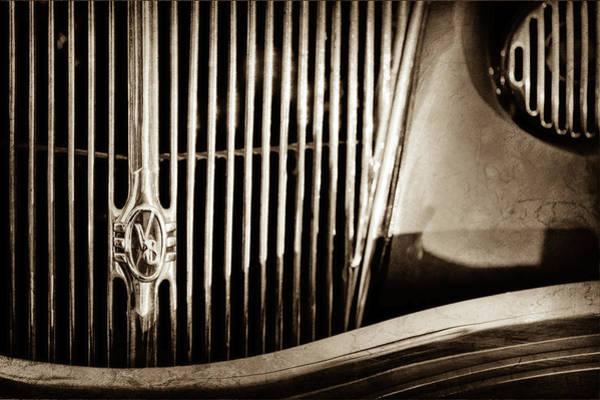 Phaeton Photograph - 1936 Ford Phaeton Grille Emblem -0287s by Jill Reger