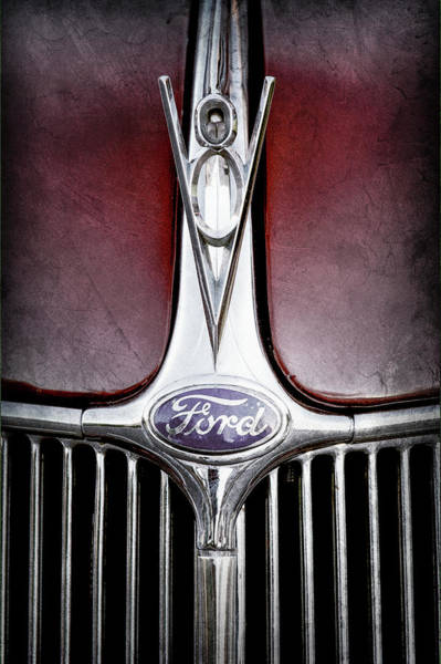 Wall Art - Photograph - 1936 Ford Phaeton V8 Hood Ornament - Emblem -0255ac by Jill Reger